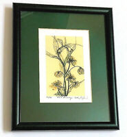 Kathy Burford Signed Painting Lithograph 25 HARMONY Flower Green Mat Frame New
