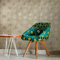 Modern Wallpaper brown Brass metallic textured geometric diamond triangle lines