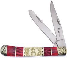 Frost Cutlery Trapper Folding Blade Red Bone Deer Artwork Handle Knife SW236BBH