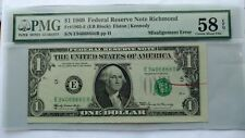New listing 1969 $1 Bill Frn Error Note With Red Reject Mark Epq 58