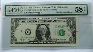 1969 $1 BILL FRN ERROR NOTE WITH RED REJECT MARK PMG 58 EPQ.