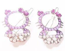 USA SELLER Rhinestone Crystal Hair Clip Hello Kitty Cat Kid Child Pin Purple TWO