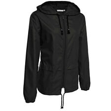 Womens Windbreaker Zip Up Wind Jacket Forest Outdoor Solid Hoodies Waterproof US