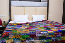 Vintage Home Decor Indian Handmade Patchwork Kantha quilt Gypsy Blanket Bedding