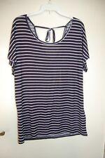 M&S Short Sleeved Pyjama Top Navy Striped Size UK 10 EUR 38 BNWT