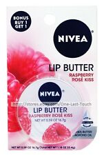 NIVEA 2pc Lip Butter/Balm RASPBERRY ROSE KISS FLAVOR Travel Size Tin (Carded)