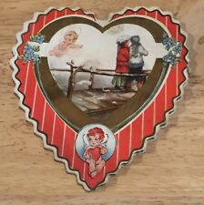 Antique Mcm 1911 Valentine Card Die Cut Heart Boy Girl On Dock Ocean Cherub