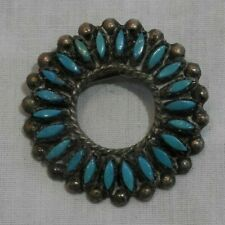 Vintage Old Pawn Silver & Turquoise Native American Pin Brooch or Pendant