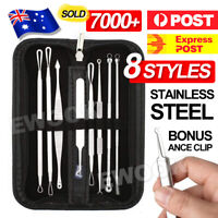 8Pcs Set Blackhead Extractor Tool Remover Pimple Blemish Comedone Kit Acne Clip