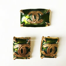 RARE VINTAGE CHANEL GRIPOIX POURED GLASS EMERALD GREEN GOLD EARRINGS BROOCH SET