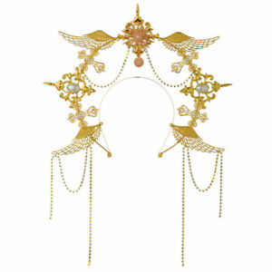 Women's Wedding Angel Wing Gold  Headband Headpiece Virgin Mary Bridal Headwear