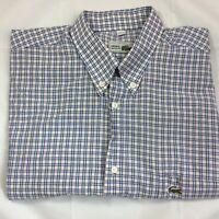 Lacoste Medium Blue & Brown Checked Short Sleeved Shirt Genuine Logo Men Vintage
