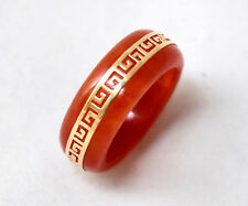 Chinese 14K Solid Yellow Gold and Natural Undyed Jade/Jadeite Ring Size 8 3/4