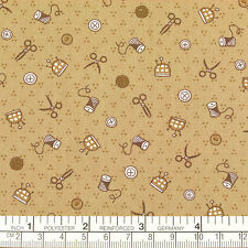 Cotton Print Fabric by FQ Scissors Needle Yarn Button Sewing Tools Dot Crafts A6