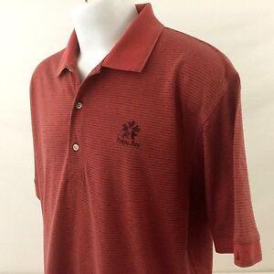 Poipu Bay Kauai Mens Golf Polo Shirt XL Greg Norman Orange Striped Cotton Blend