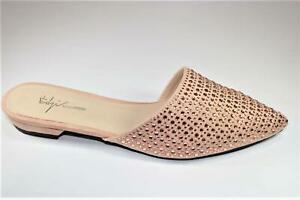 NEW WOMENS LADIES PH101 PINK FAUX SUEDE DIAMANTE POINTED TOE STUDDED MULES