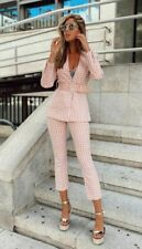 ZARA PINK 2 PIECE SUIT CO-ORD GINGHAM VICHYBLAZER JACKET& FLARED TROUSERS SIZE S