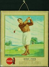 1947 Large Coca-Cola Coke Sports Hangers Series Bobby Jones Ad Piece Golf