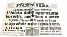STAMPA SERA seconda edizione 4-5 sett. 1939 - GUERRA AL CONFINE FRANCO-GERMANICO
