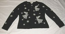 Womens Talbots Sz M Black & White Zipper Cartigan Sweater With Fairys Snowflakes