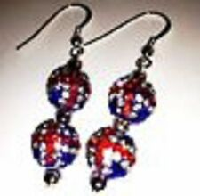 SHAMBALLA UNION JACK  DROP EARRINGS WITH 2 CLAY CZECH CRYSTAL DISCO BEAD-UK SELL