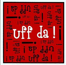 "Norwegian Trivet Tile  ""Uff Da!""  Red, white, black.  6"" X 6""  Cork Backing"