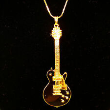 Electric Guitar Famous Black & Gold Replica Pendant Necklace 14K gold plated