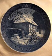 1976 Royal Copenhagen Danish Blue Christmas Plate Vibaek Water Mill 7.25 inches