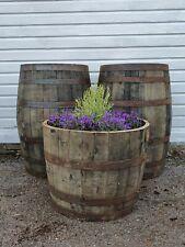 More details for large 50cm tall oak half barrel tree shrub bush flower garden planter pot tub