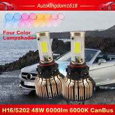 6000LM Pair COB CanBUS LED Headlight Kit Driving Lamp H16 5202 48W White Bulbs