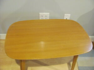 Mid-century Modern Swedish Oval Side Table Birch Ink Stamp