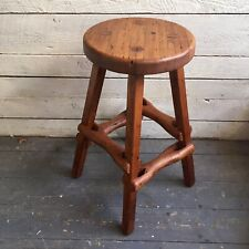Rustic Handmade Wood stool wormy chestnut - wood peg construction  - 70s  - ooak