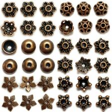 40 Bead Caps Antique Copper Tone Spacers Findings Floral Assorted Lot 8mm-14mm