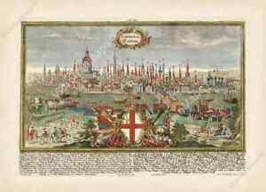 London antique panorama view plan map 1720 Londinium Londinum art poster print