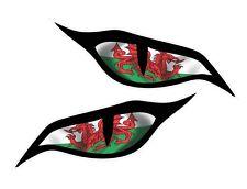 Par De Mal Ojos Grandes Gales Welsh Cymru Bandera Pegatina de Coche Moto 140x60mm
