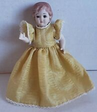 Vintage porcelain doll movable arms marked Germany gold tone dress beautiful 6""