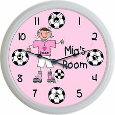Girl Soccer Player Personalized Custom Wall Clock I Love Soccer Sport New