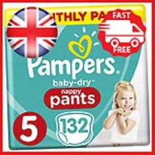 Pampers Baby-Dry Size 5, 132 Nappy Pants, 12-17kg, Easy-On for Up to 12 Hours of