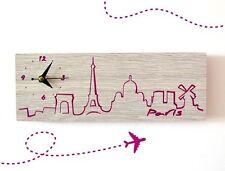 Paris France Engraved Wood - Wall Clock