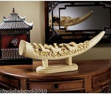 Exotic Elephant Tusk Replica Sculpture Wildlife muscular horses running in wind