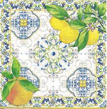 Lot de 4 Serviettes en papier Citron Capri Decoupage Collage Decopatch