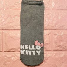 Hello Kitty Socks Ankle Sanrio Anime Gray Graphic Pink Bow Simple Women's 4-10
