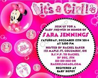 Minnie Mouse Baby Shower Invitations 12 pk Personalized It's a Girl