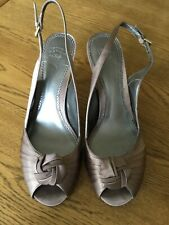 Laura Ashley Mink Satin peep Toe Slingback Shoes ~ Size 7 🇬🇧