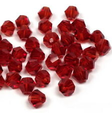 100 Glasschliffperlen 3mm rot transparent Bicone Doppelkegel