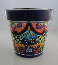 Mexican Ceramic Flower Pot Planter Folk Art Pottery Handmade Talavera # 18