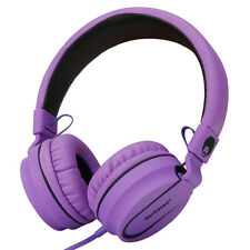 RockPapa Foldable Headphones Mic Headsets for iPhone Samsung LG Nokia HTC Purple