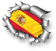 Clásico rasgada abierto Rasgado Metálica de extracción y España Español Bandera Vinilo Coche Pegatina Calcomanía