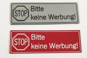 """Briefkastenschild """"STOP-Bitte keine Werbung !"""" 60x20 selbstklebend Kunststoff"""