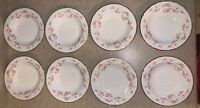 "Pope Gosser China FLORENCE 5 3/4""D X 1"" Berry Bowls Pink Rose Garland w/Gold (8)"
